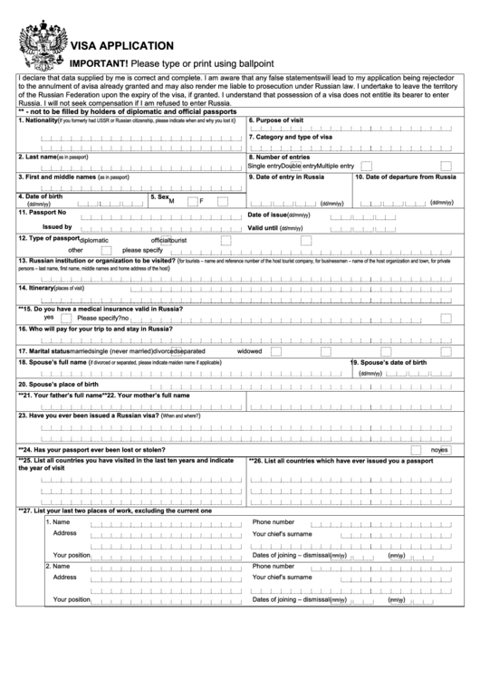 Visa Application Form For Us Citizens - Russian Universal Services