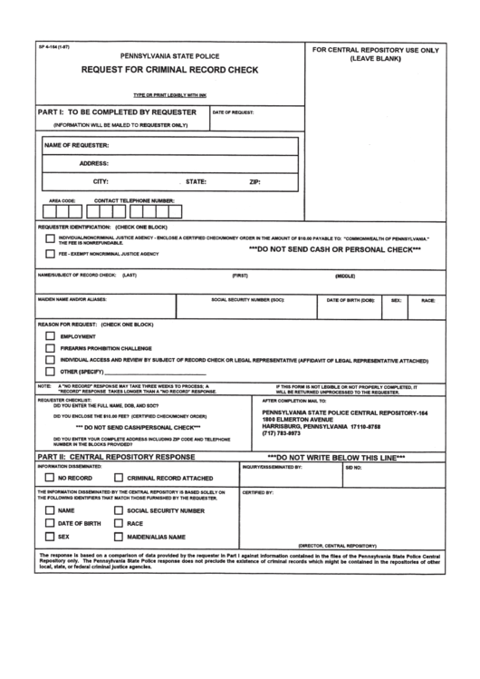 Form Sp 4-164 - Pennsylvania State Police Request For Criminal Record Check