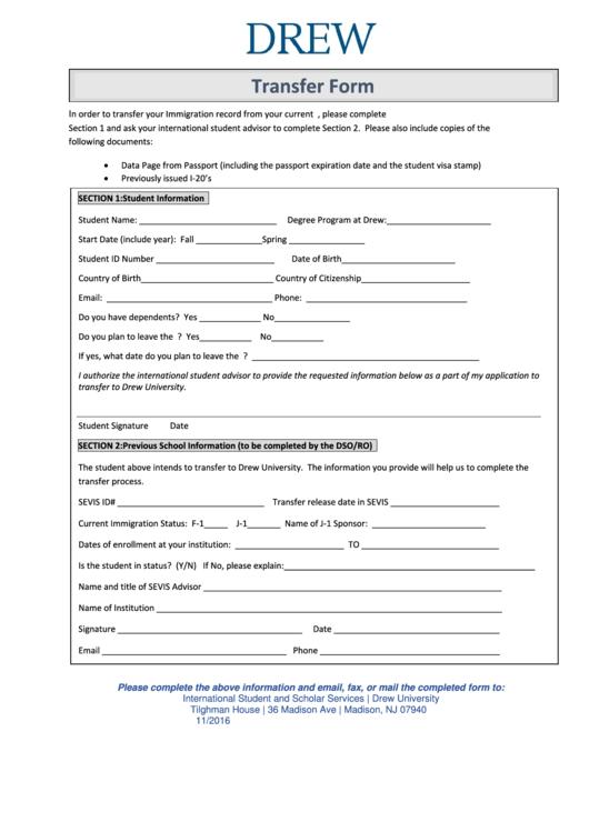 Transfer Form - Drew University Printable pdf