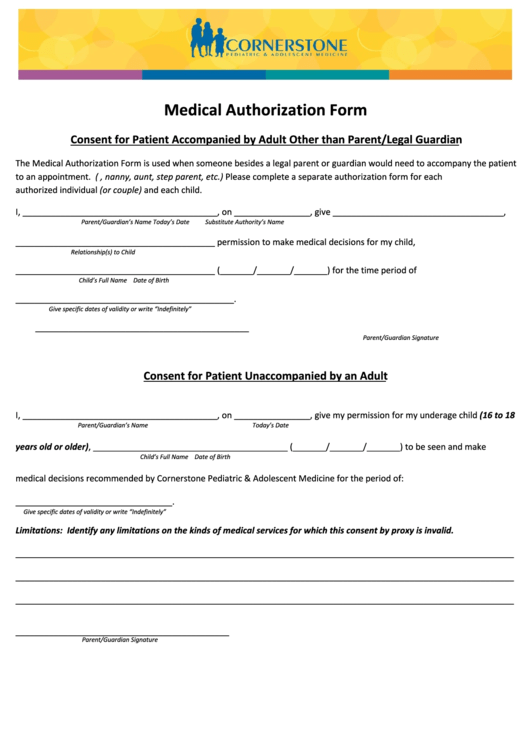Medical Authorization Form (Consent For Patient Unaccompanied By An Adult) Printable pdf