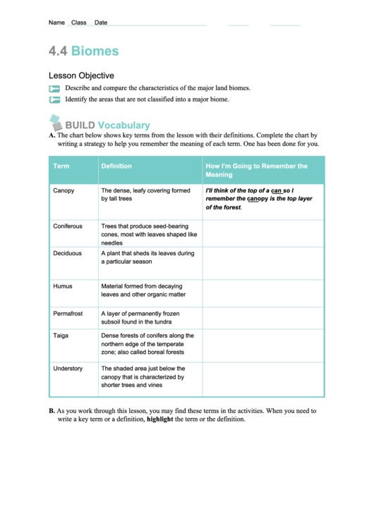 Biome Worksheets printable pdf download