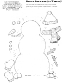 Dress A Snowman (or Woman) Kids Activity Sheet