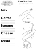 Name That Food Kids Activity Sheet