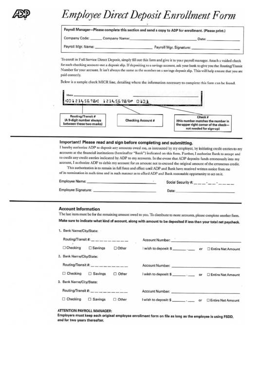 Employee Direct Deposit Enrollment Form