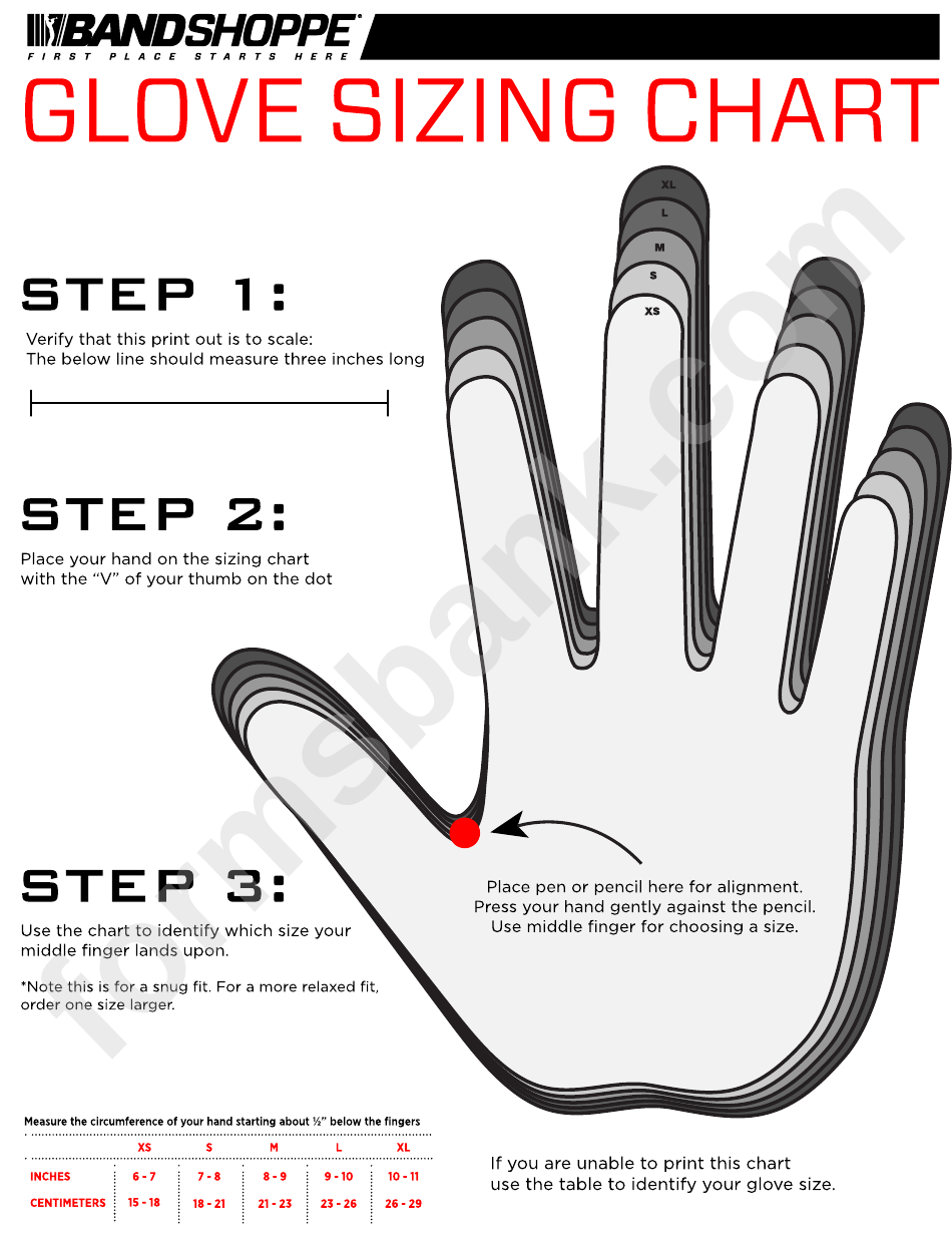 Band Shoppe Glove Sizing Chart printable pdf download