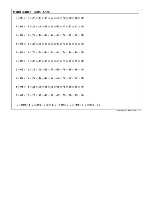 Multiplication Facts Sheet - Math-u-see