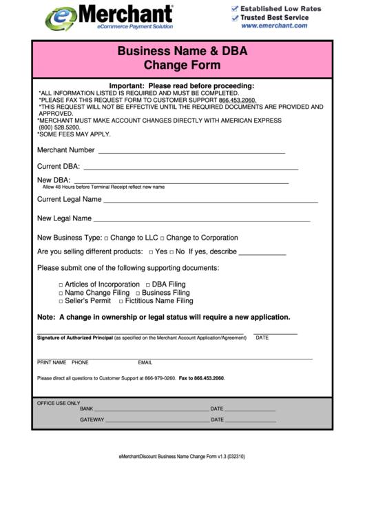 Business Name And Dba Change Form - E-merchant printable pdf download