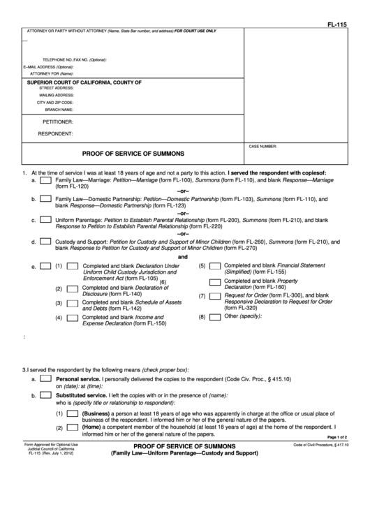 Fillable California Superior Court Forms Proof Of Service Of Summons Printable pdf