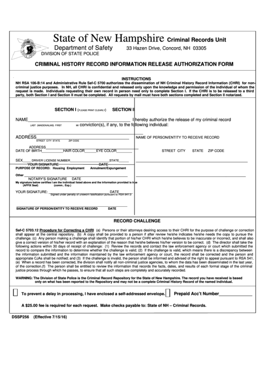 Form Dssp256 - Criminal History Record Information Release Authorization Form