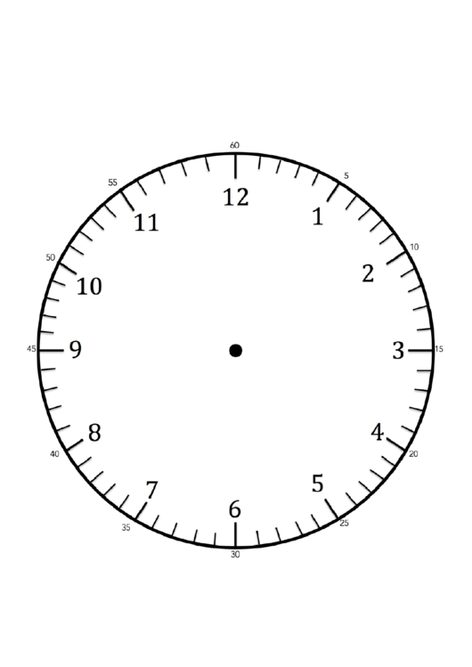 Clock Face Template With Hours And Minutes
