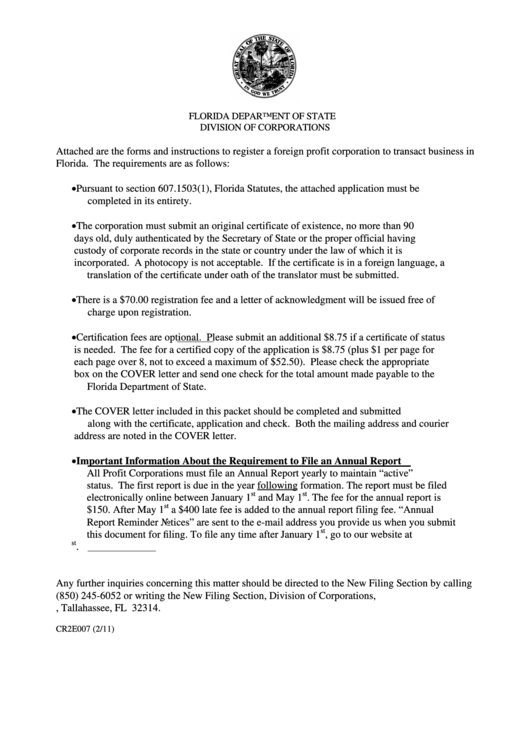 Fillable Cover Letter/application By Foreign Corporation For Authorization To Transact Business In Florida Printable pdf
