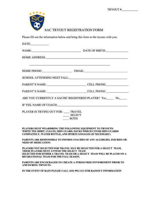 Sac Tryout Registration Form - Sac/hc