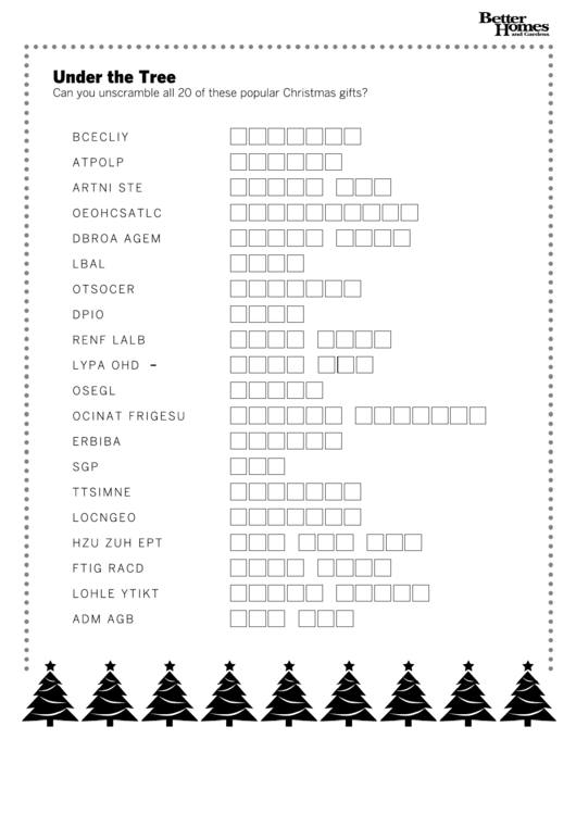 Christmas Word Scramble Game Template