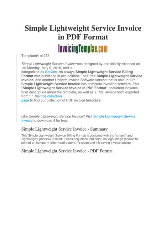 Simple Lightweight Service Invoice Template Printable pdf