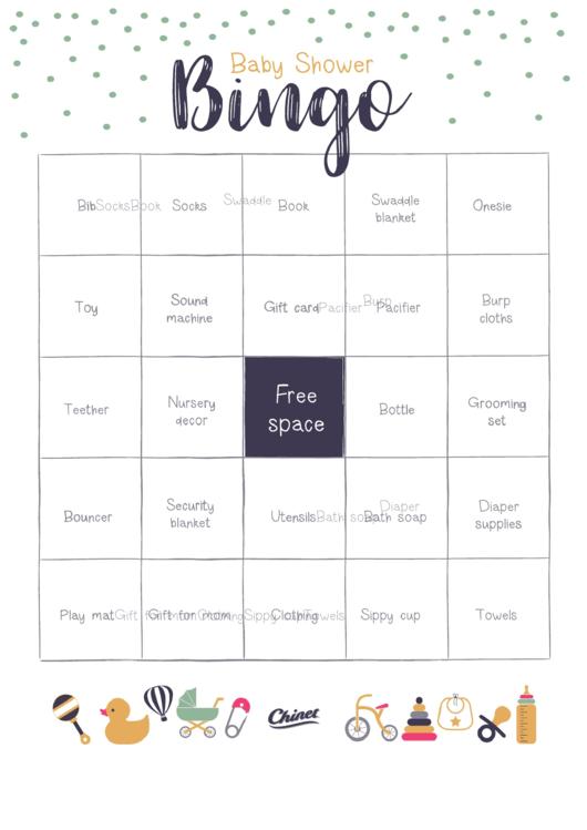 Baby Shower Bingo Game Template