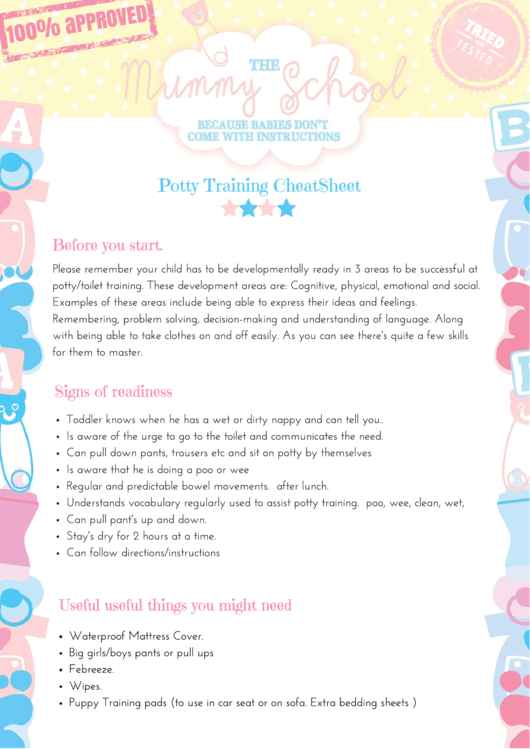 Potty Training Cheat Sheet