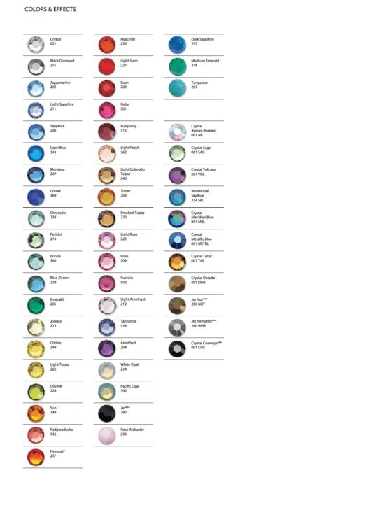 crystal swarovski color chart printable pdf download