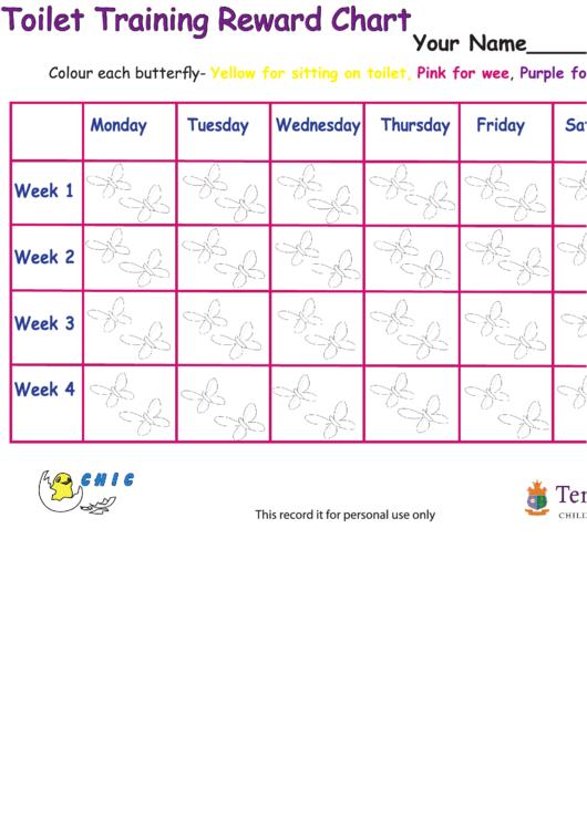 Toilet Training Reward Chart - Butterflies Printable pdf