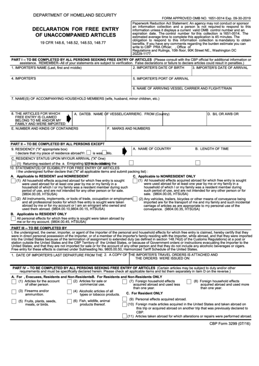 Top 5 Cbp Form 3299 Templates free to download in PDF, Word and ...