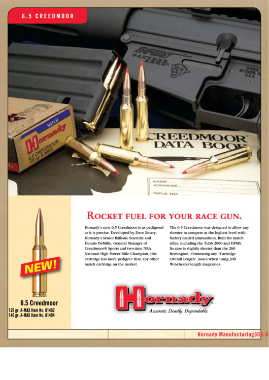 6.5 Creedmoor - Hornady Bullets Ballistics Chart