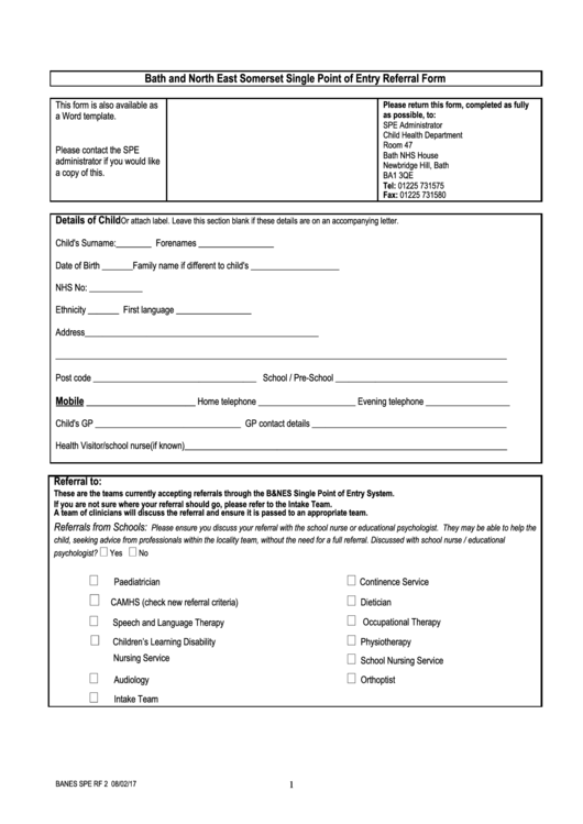 single point of entry referral form