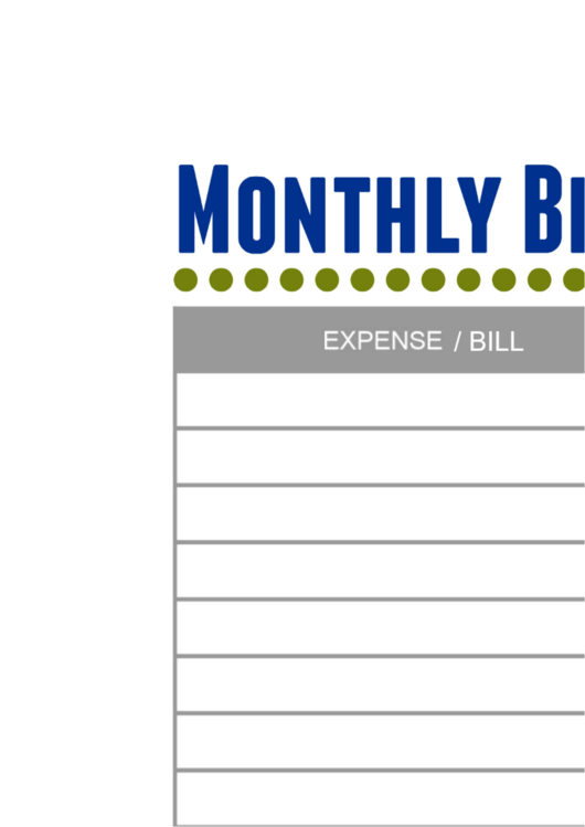 Monthly Bill Payment Log Printable Pdf Download