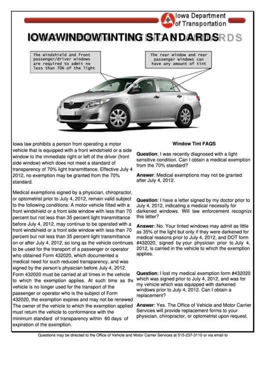 Iowa Window Tinting Standards - Iowa Department Of Transportation Printable pdf
