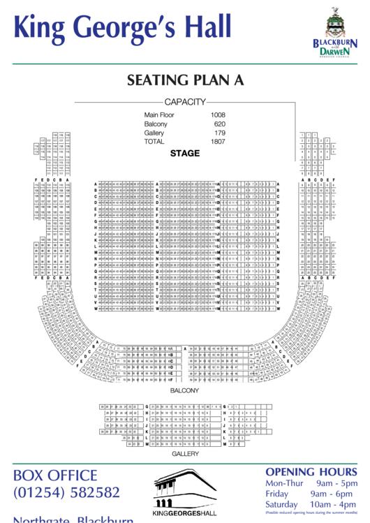 King Georges Hall Seating Plan A Printable Pdf Download