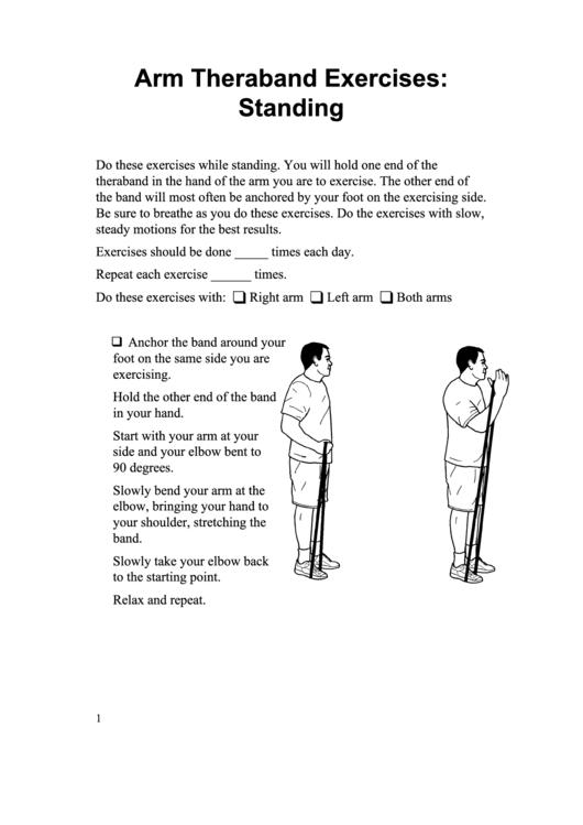 Arm Theraband Exercises: Standing Somali Printable pdf