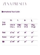 Zena Presley Size Chart