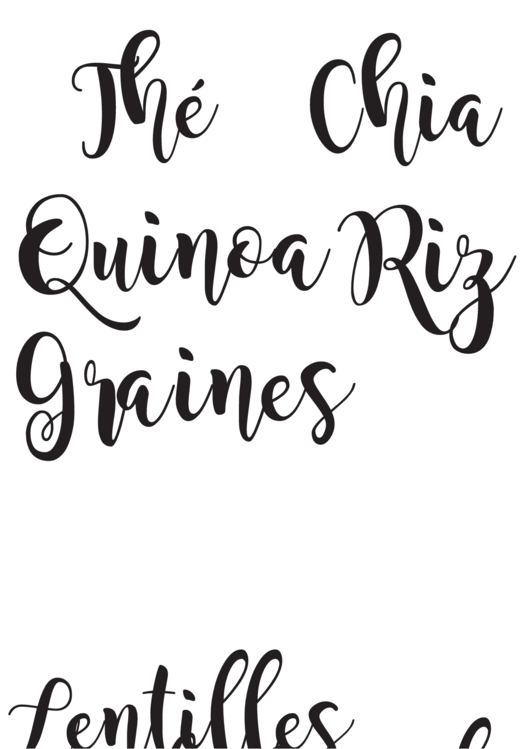 Fillable Chia Quinoa Calligraphy Poster Template Printable pdf