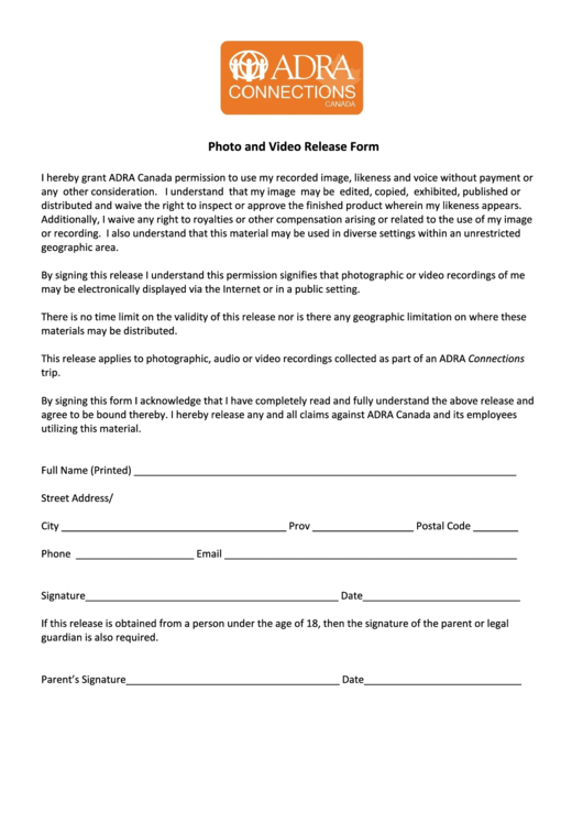 Photograph And Video Release Form - Adra Canada