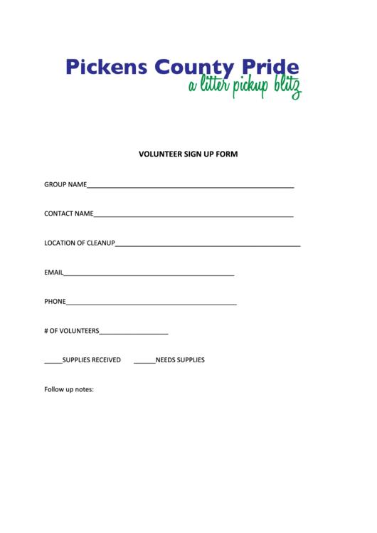 Volunteer Sign-up Form