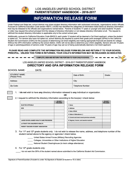 Information Release Form - Lausd