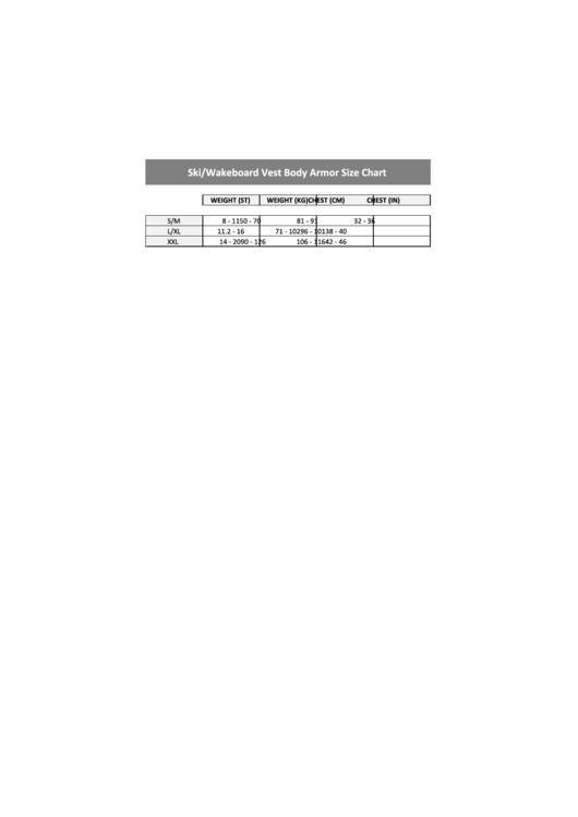 Ndiver Ski/wakeboard Vest Body Armor Size Chart Printable pdf
