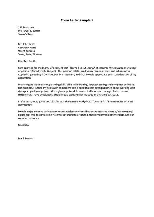 General Resume Cover Letter Sample Printable pdf