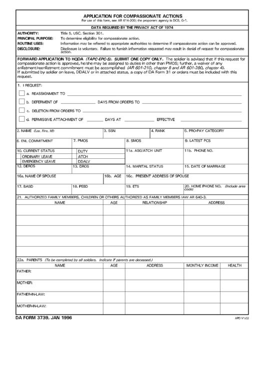 Da Form 3739. Jan 1996 printable pdf download
