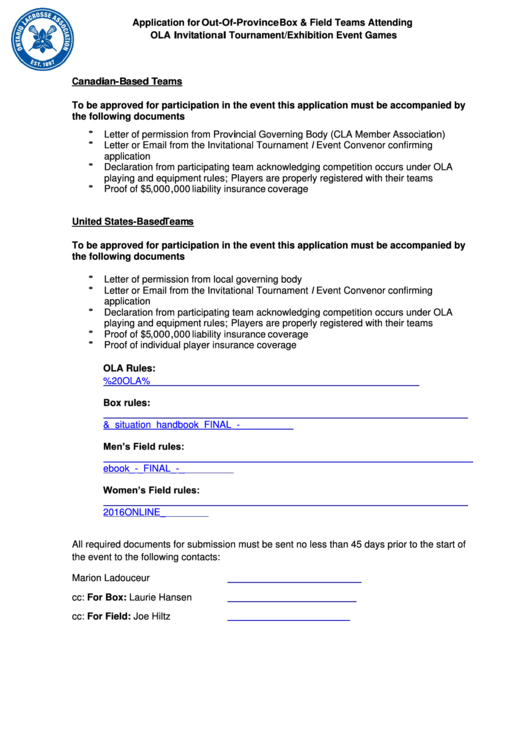 Application For Out-Of-Province Box & Field Teams Attending Ola Invitational Tournament/exhibition Event Games Printable pdf
