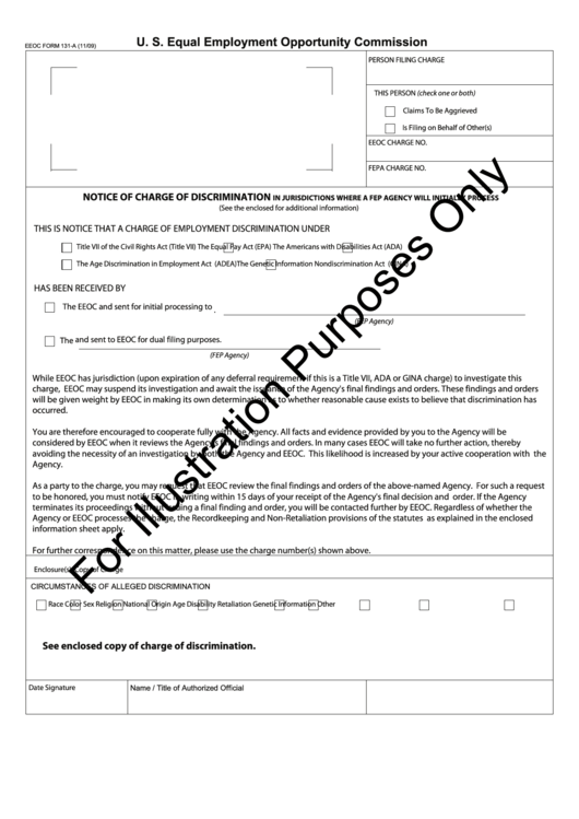 Eeoc Form 131-A - Notice Of Charge Of Discrimination Printable pdf