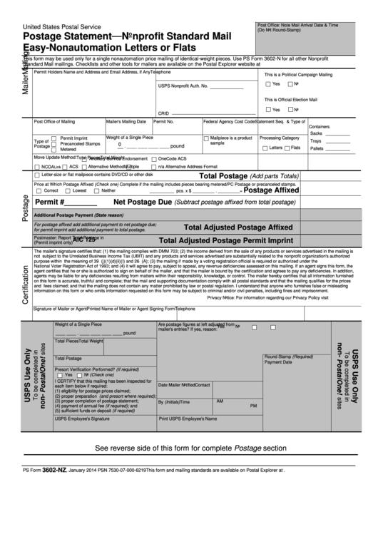 Postage Statement Nonprofit Standard Mail Easy Printable