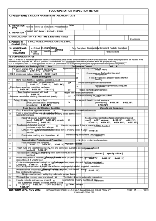 Dd Form 2973, Food Operation Inspection Report, November 2013 ...