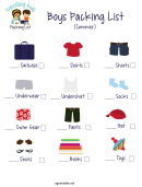 Boys Packing List