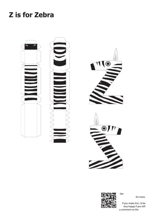 Z Is For Zebra Papercraft