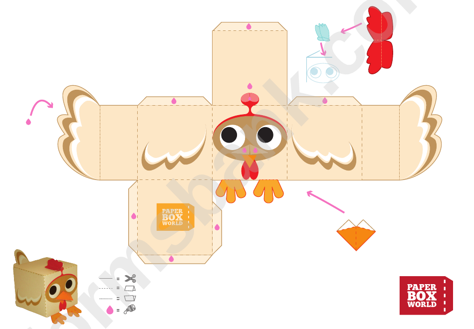 Chicken Paper Toy Box Template Printable Pdf Download