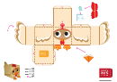 Chicken Paper Toy Box Template