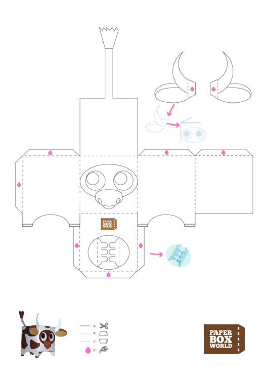 Cow Paper Toy Box Template Printable pdf