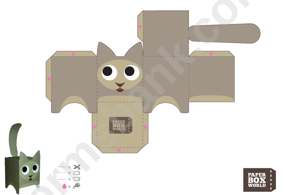 Cat Paper Toy Box Template printable