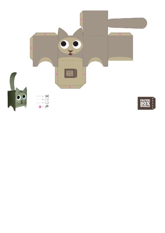 Cat Paper Toy Box Template Printable pdf