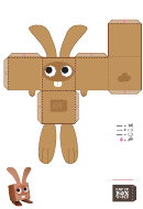 Rabbit Paper Toy Box Template