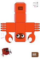Crab Paper Toy Box Template
